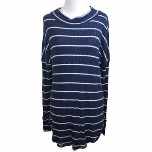 🌵Caslon🌵Waffle Knit Tunic Top✨Navy Blue Striped